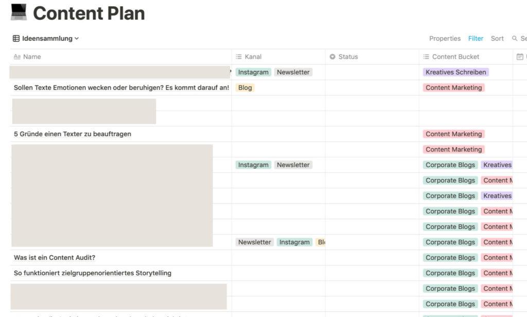 Redaktionsplan erstellen: Ansicht der Ideensammlung