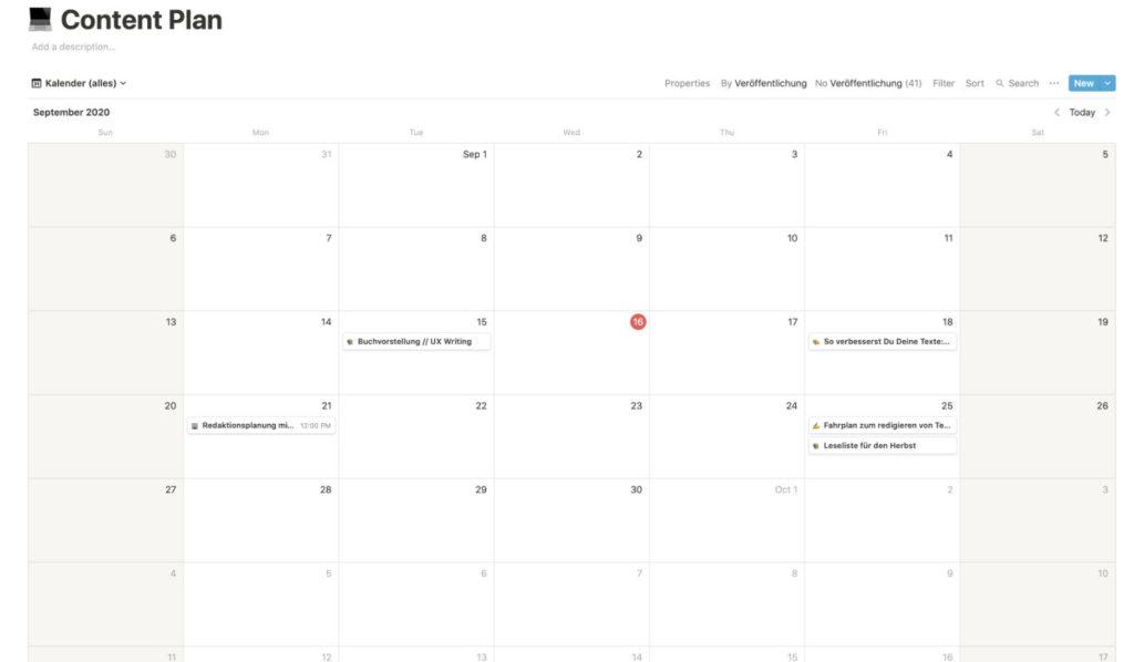 Redaktionsplan erstellen: Ansicht als Kalender
